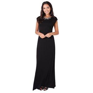 Black Short-sleeved Cotton Maxi Dress